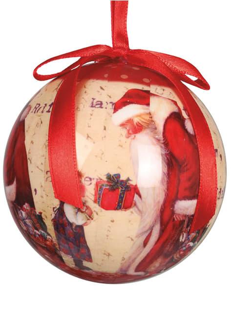 Set de 6 bolas navideñas decoradas de Santa Claus