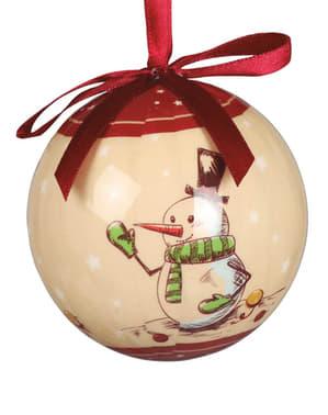 6 palline natalizie decorate con pupazzi con neve
