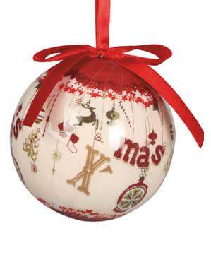 6 julgranskulor dekorerade med X-Mas