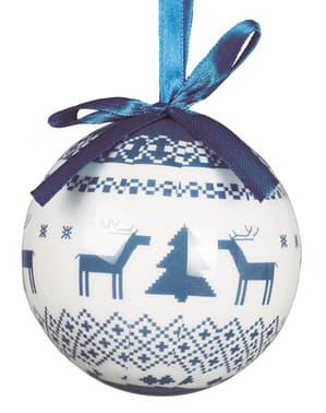 6 kpl setti joulukuusenkoristeita sinisellä kuvioinnilla