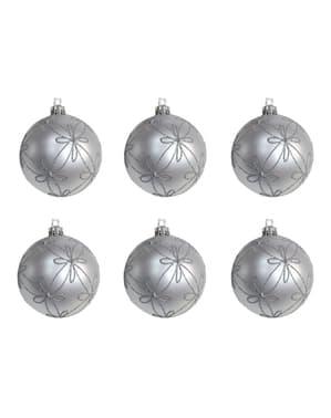 6 kpl setti hopeanvärisiä kohokuvioituja joulukuusenkoristeita