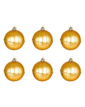 6 рельєфних золотистих ялинкових кульок