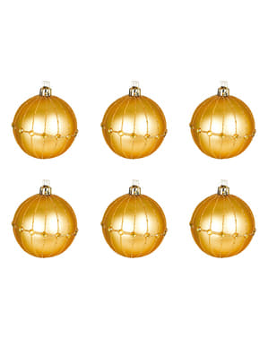 6 Embossed Gold Baubles