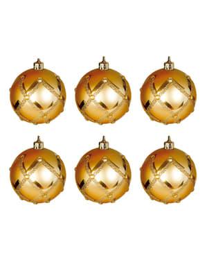 6 kpl setti kullanvärisiä kohokuvioituja joulukuusenkoristeita timanttikoristeilla