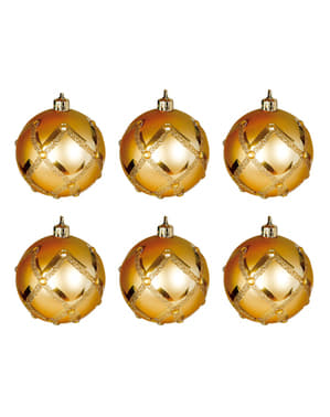 6 Embossed Gold Diamond Baubles