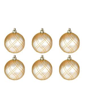 6 bolas navideñas doradas decoradas con purpurina