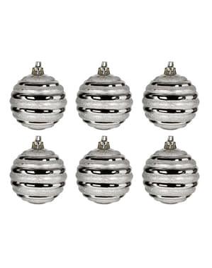 6 Zilveren Swirl Kerstballen