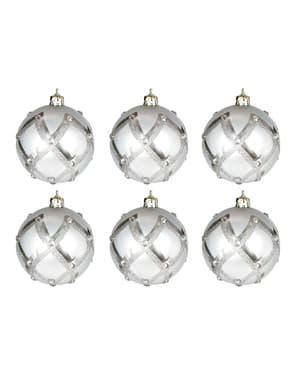 6 kpl setti hopeanvärisiä kohokuvioituja joulukuusenkoristeita timanttikoristeilla