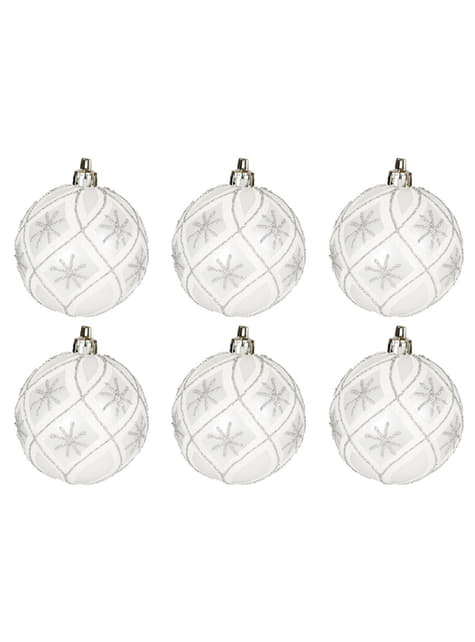 Set de 6 bolas navideñas plateadas decoradas con purpurina