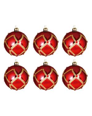 Set de 6 boules de Noël rouges décorées de losange