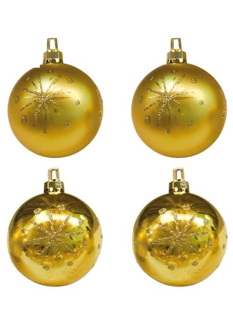 Set de 4 bolas navideñas doradas decoradas con estrellas