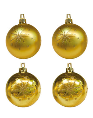 4 Χρυσές Μπάλες Χριστουγεννιάτικου Δέντρου με Αστέρια
