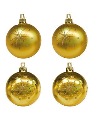 4 золотисті кульки з зірочками на новорічну ялинку