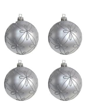 Set de 4 boules de Noël argentées fleuries