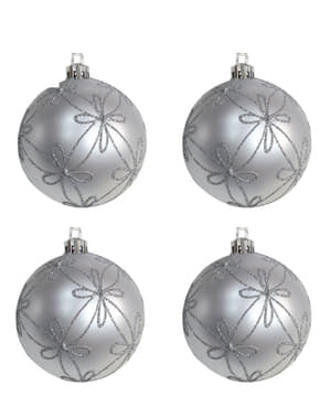4 Silver Baubles with Flower Decorations