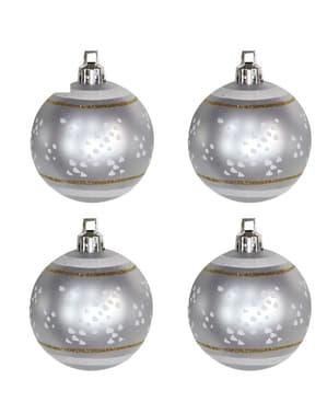 4 bolas navideñas plateadas decoradas con nieve