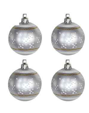 4 Silver Baubles with Snowflake Decorations
