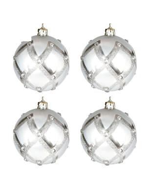 4 bolas navideñas plateadas decoradas con brillantes
