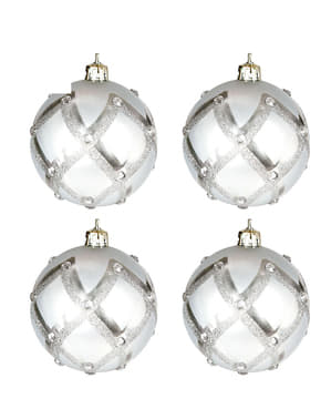 4 Silver Baubles with Rhinestones