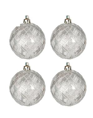 4 bolas navideñas plateadas con purpurina