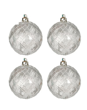 4 Silver Baubles with Glitter