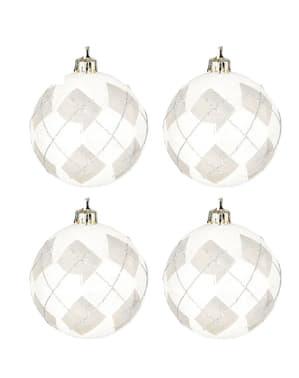 4 kpl setti hopeanvärisiä joulukoristeita timanttikoristeilla