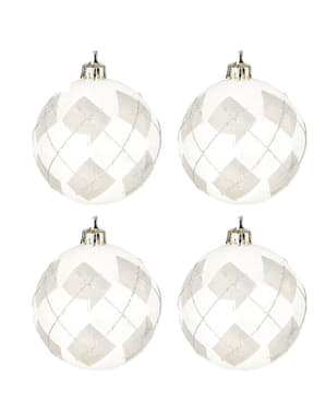 4 Silver Baubles with Diamond Decorations