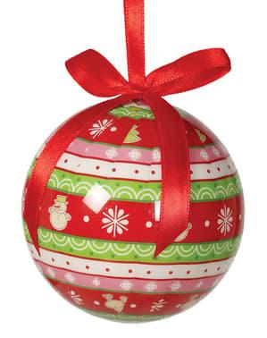 6 julgranskulor dekorerade med snögubbar
