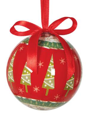 6 6 julgranskulor med dekoration