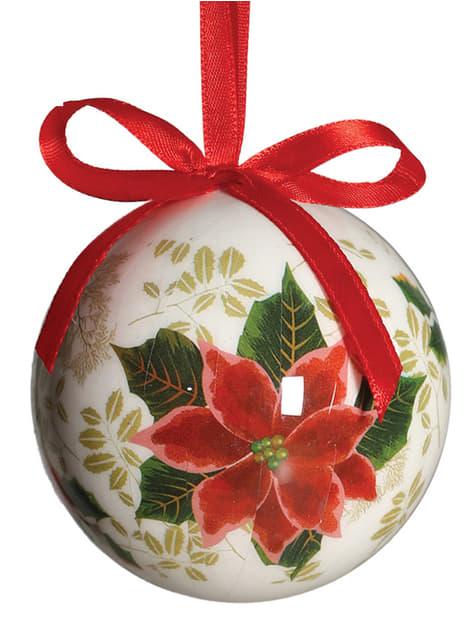 Set de 6 bolas navideñas decoradas con flores