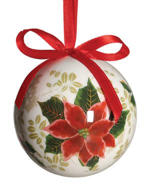 Weihnachtskugel Set mit Blumenmotiv 6-teilig
