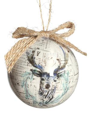 Weihnachtskugel Set grau mit Rentiermotiv 6-teilig