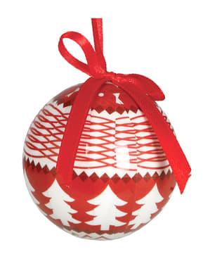 6 червени коледни топки с бели елхи