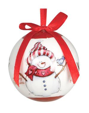 6 bolas natalícias brancas decoradas com boneco de neve