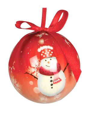 6 bolas navideñas rojas decoradas con muñeco de nieve