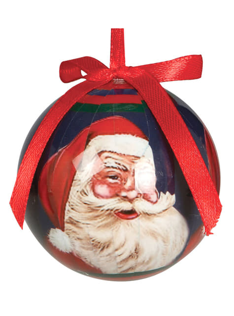 Set de 6 bolas navideñas decoradas con Papá Noel