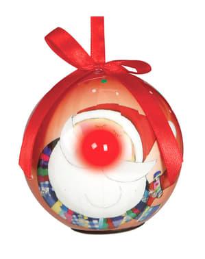 Червена коледна топка с LED лампички