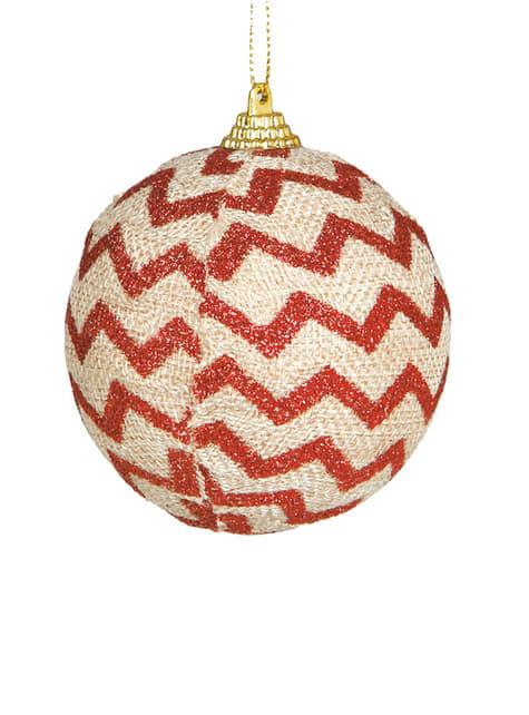 Bola de Natal decorada com riscas vermelhas