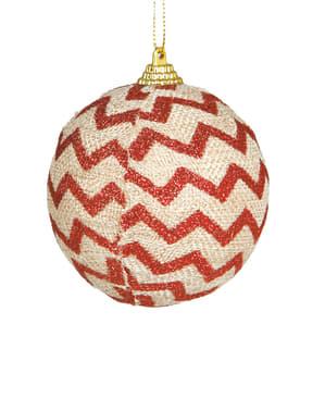 Punaisilla raidoilla koristeltu joulupallo