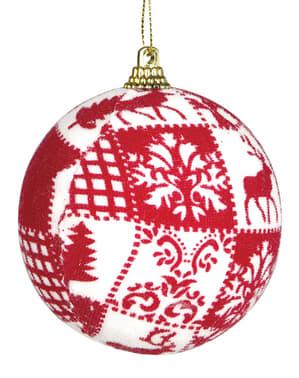 Boule de noël rouge décorée
