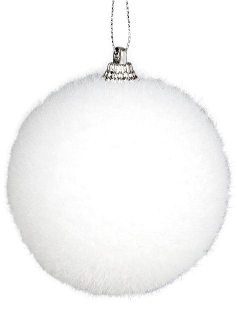 Puchata biała bombka choinkowa