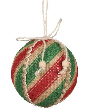 Коледна топка в червено и зелено
