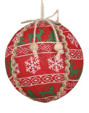 Punainen joulupallo jouluprintillä