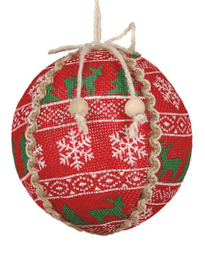 Red Christmas Print Bauble
