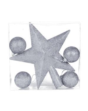 Boules et étoile sapin de noël argentées