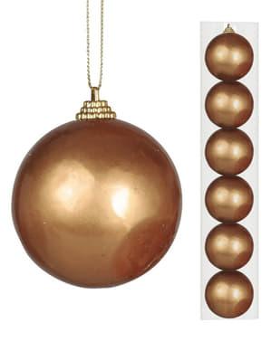 6 bolas navideñas doradas