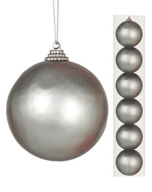 6 julgranskulor silverfärgade