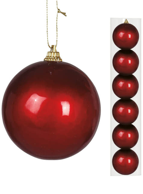 6 Red Baubles