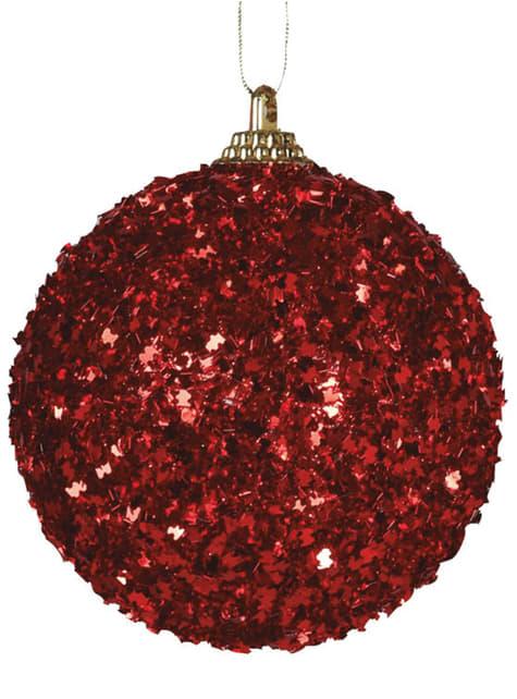 Set de 4 boules de Noël rouges à paillettes