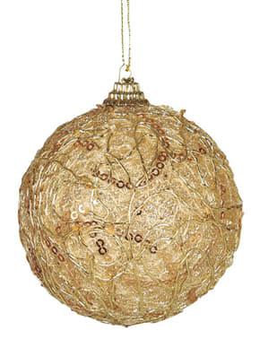 Koristeltu kultainen joulupallo
